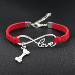 $enCountryForm.capitalKeyWord NZ - Silver Alloy Infinity Love Dog Bone Sign Pendant Charm bracelets Bohemian Red Leather bracelet bangles for women Men gift wholesale jewelry
