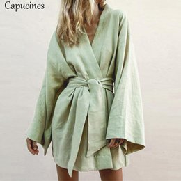 japan dresses sleeves NZ - 2019 New Japan Style V-neck Cotton Dress Women Sashes Long Sleeves Casual Loose Dress Female Summer Green Large Size Beach