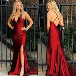 $enCountryForm.capitalKeyWord Australia - Dark Red Evening Dresses 2019 Sexy Criss-Cross Straps Long Mermaid Split Arabic Plus Size Prom Gowns Vestido de noche Formal Party dress
