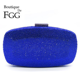 handbags blue NZ - Boutique De FGG Royal Blue Women Crystal Evening Bags Formal Dinner Party Cocktail Ladies Diamond Clutch Purses Wedding Handbags