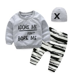 Wholesale Baby Boys Clothing Sets Winter Infant Boys Clothes Suit Long Sleeve Sweatshirt Long Pants Hat Newborn Outfits Set