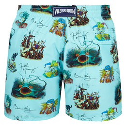 China Vilebre Brand Board Shorts Men Bermuda Vilebre Turtle Printing Man Boardshort 100% Quick Dry Men's Swimwear fzw1719 suppliers