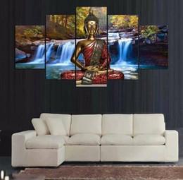 $enCountryForm.capitalKeyWord Australia - Buddha Statue Art Prints Waterfull Poster Canvas Art 5 Pcs Blue Nature Wall Painting Bedroom Home Decor No Frame