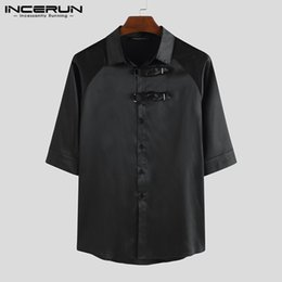 half shirts men NZ - INCERUN Men Shirt Retro Half Sleeve Lapel Solid Color Chic Tops Camisa Button Summer Streetwear Casual Shirts Hombre S-5XL 2020