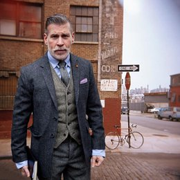$enCountryForm.capitalKeyWord Australia - Winter Classic Suit Men Grey Tweed Men Suit Elegant Formal Wedding Suits For Men Retro Costume Homme 3 Pieces Traje Hombre Suits