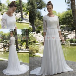 Cheap wedding dresses Custom made online shopping - 2019 Cheap Lace Top A Line Chiffon Beach Wedding Dresses With Sheer Long Sleeves Covered Button Back Boho Garden Bridal Gowns Custom Made