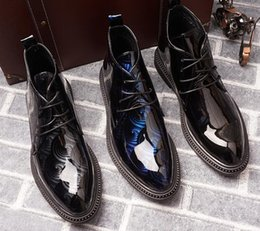 British Hair Styles Australia - Men British style Patent Leather Martin Rivet Boots Ankle BootsTop Quality Fashion Forward Pointed Toes Hair Stylist casual leather Shoes