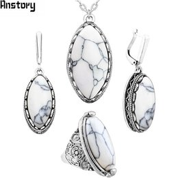 ring shaped earrings Australia - Fashion Jewelry Sets Anstory Eye Shape Stone Jewelry Sets 4 Colors Necklace Earrings Rings For Women Antique Silver Plated Stainless Steel