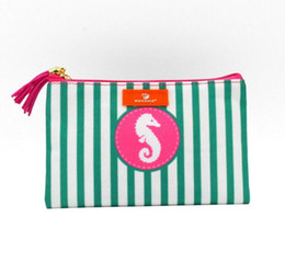 Canvas Prints Wholesalers Australia - 12cmx19cm 2019 New Stripes Cosmetic Bag European and American Women Canvas Sea Horse Printed Storage Coin Purses With Tassel