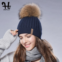$enCountryForm.capitalKeyWord Australia - FURTALK Winter Beanie Hat for Women Pompom Hat Knitted Warm Winter Hat Double Layer Female Cap with Real Raccoon Fur Pom
