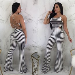 fitted jumpsuits Australia - Women Sexy Sleeveless Backless Stretchy Bodycon Jumpsuit Lady Summer Casual Striped Skinny Fit Playsuit Romper Clubwear