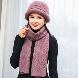 Rabbit Fur Scarves Caps Australia - Kagenmo 2018 New Year Gift Mother'S Twinset Cap And Scarf Rabbit Fur Soild Color Knitting Outdoor Keep Warm Thick Bucket Hat Lon