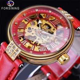 Ladies Luxury Gifts Australia - Forsining 2019 Golden Skeleton Diamond Design Red Genuine Leather Band Waterproof Lady Mechanical Luxury Watches Top Brand Gift Clock