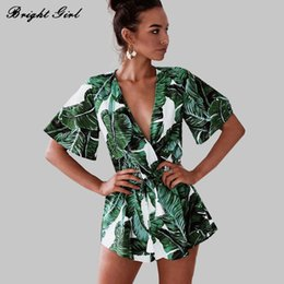 v cap NZ - Bright Girl Summer Sexy Dress New Ladies Clothes Causal Tropical Plants Short Sleeve Dresses For Women V-neck Mini Dress Bg17469 Y190410