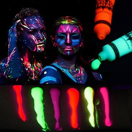 $enCountryForm.capitalKeyWord Australia - 6 Colors Glow in Dark Body Art Paint 10ml UV Glow Face Body Paints Fashion Halloween Makeup Fancy Painting