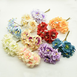 Wedding vase floWering online shopping - Silk cherry bouquet vases for wedding home decor diy gifts candy box scrapbook Christmas wreath artificial flowers fake plants