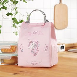 pack lunch boxes NZ - Unicorn Insulation Lunch Bag Aluminium Foil Small Lunch Tote Blue Bag Women Thermal Box Ice Pack Pink Handbags