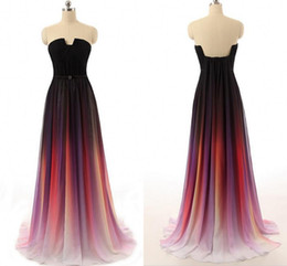 $enCountryForm.capitalKeyWord Australia - Fashion Ombre gradiant Long Evening Formal Dresses Real Photo Unique Neck Designer Chiffon Backless Pleated Bridesmaid Prom Dress Cheap