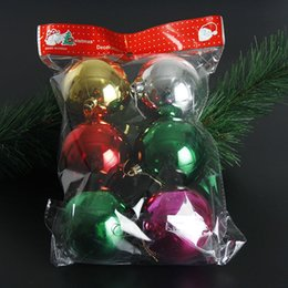 Dhl Christmas Ornament Australia - 6Pcs lot 80mm Christmas Tree Balls Ornaments Shatterproof Balls Xmas Trees Wedding Parties Tree Decorations For Holiday With Muticolor DHL