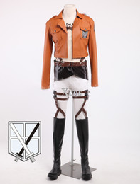 female titan cosplay UK - Attack On Titan Eren Jaeger Cosplay Costume Shingeki Trainning Corps Cosplay Costume