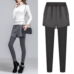 winter warm leggings for women 2019 - Womens Winter trousers Warm And Velvet Thickening Splice Leggings casual sexy slim pants solid Wear Fake Two work Pants