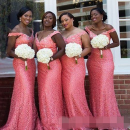 Coral Beads Making Australia - Coral Mermaid Lace Bridesmaid Dresses Cap Sleeves Beaded Neckline Sweep Train Cheap Plus Size Custom Made Country Maid of Honor Gown