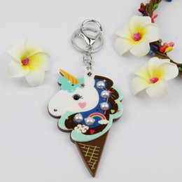 $enCountryForm.capitalKeyWord NZ - Ice Cream Unicorn mirror compact keychain hot welcomed design round shape key ring custome acrylic key charms