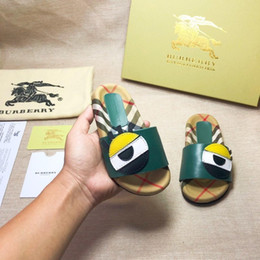 Clogs Leather Australia - Newest Branded Kids Leather cute cartoon letter print slippers fashion Boy Girl rubber summer sole Non-slip beach Slide Sandal