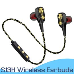 Wholesale QT14 Dual Dynamic Driver Headphones Wireless Bluetooth Earphones S13H Sport Running Headset Stereo Bass HIFI Earbuds With MIC In Retail Box