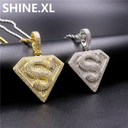 14k solid gold pendants online shopping - 18K Gold Plated SUPER MAN Solid Back Pendant Necklace Micro Pave Cubic Zircon Mens Hip Hop Jewelry