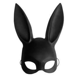 White Cosplay Ears UK - Black Women Girl Sexy Rabbit Ears Mask Cute Bunny Long Ears Bondage Mask Halloween Masquerade Party Cosplay Costume Props