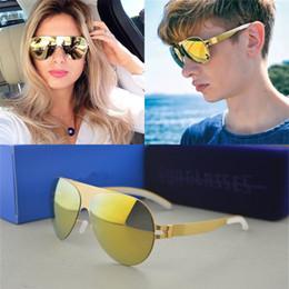 Chinese  Luxury Sunglasses Brand Designer Franz Celebrity Hand Made Mirror Sunglasses Men&women Gold Flash Pilot Aviator Sun Glasses C19022501 manufacturers
