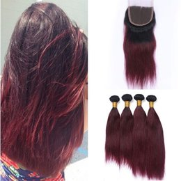 Wine Red Hair Color Indian Australia - Straight Indian Virgin Human Hair 1B 99J Wine Red Ombre 4Bundles with Closure 5Pcs Lot Burgundy Ombre 4x4 Lace Front Closure with Weaves