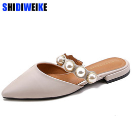 cdd8c5156b08a7 Dress Shoes 2019 Women Brand Slippers Square Heel Women Casual Slip On Mules  Slides Pearl Bead Pointed Toe Low Heel Sandals N675