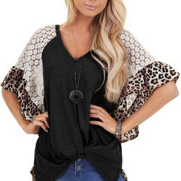 lace splice t shirt Canada - Leopard Printed T-Shirt Lace Splice T Shirt V-Neck Short Sleeve Large Size Bat Sleeve Tie T Shirt Women T-Shirt Camiseta Mujer