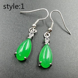 China 100% Natura China Bisuteria Top Titanium steel Jewelry Vintage Retro Green Jade Big Earrings For Women suppliers