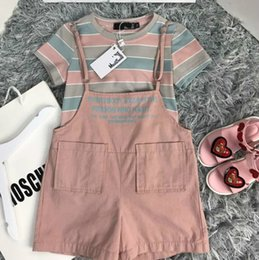 Designs Girls Shirts New Australia - Children's wear girl Suit T-shirt Summer clothing 2019 new products Breathable Wholesale prices Sling shorts Stripe contrast design in