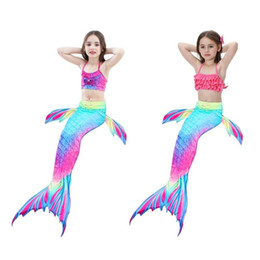 white tail suits 2019 - Girls Gradient Color Fish Tails Swimsuit Bikini Sets Beach Cosplay Costume Beautiful Sexy Little Girls Dovetail Dresses