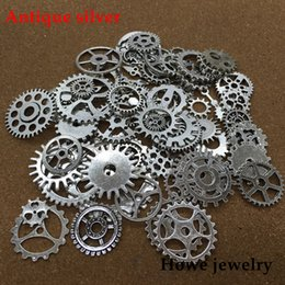 Gear Cogs Australia - Mixed 100g steampunk gears and cogs clock hands Charm Antique silver Fit Bracelets Necklace DIY Metal Jewelry Making
