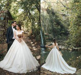Elegant Longer Length Lace Dress Australia - Sexy V Neck Wedding Dresses 2019 Elegant Off Shoulder Satin Lace Appliques Long Floor Length Bridal Gowns Sweep Train New Vestido De Noiva