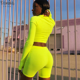 Wholesale neon long sleeve pullover resale online – Neon Green Fashion Pink Two Women Tracksuit Piece Set Top And Pants Sweat Suits Shorts Joggers Sets C87 Ab82