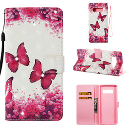Iphone Case Butterfly Pu NZ - Flip cover stand PU leather case for iPhone 7 6 6s Painted 3D butterfly Point drill with Credit card slot wallet shockproof cell phone cases