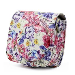 Wholesale Oil painting Rose Flower PU Leather Camera Shoulder Bag Case for Instax Mini Camera Instant Protector Cover
