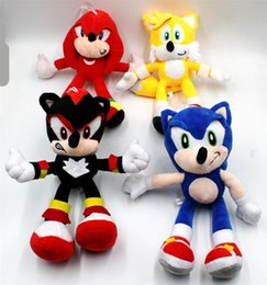 "sonic plush toys videos Canada - New Arrival Sonic the hedgehog Sonic Tails Knuckles the Echidna Stuffed animals Plush Toys With Tag 9""23cm Free Shippng"
