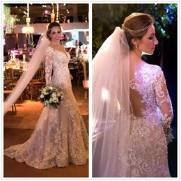 See Through Luxury Wedding Dress Australia - 2018 Luxury Illusion Long Sleeves Lace A Line Wedding Dresses Tulle Applique Beaded Seen Through Back Bridal Wedding Gowns With Buttons