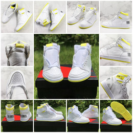 tassel sneakers Australia - First Class Flight Basketball Shoes for Men 1s Bar Code Lemon Yellow 2019 New Designer Mens Fashion Sportswear Trainer Sneakers