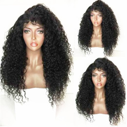 Discount dark brown long heat resistant wigs - Free Part Black Long Kinky Curly Synthetic Lace Front Wig For Black Women Heat Resistant Fiber Glueless Natural Hairline