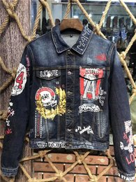 Neue Männer 3d Brief Muster Jeansjacke lässig hochwertige Denim Herren gedruckt Jacke M-3XL