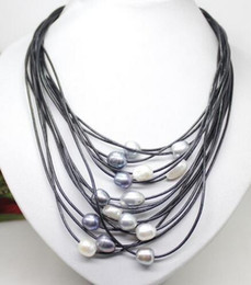 $enCountryForm.capitalKeyWord NZ - 01-12mm Real white gray black freshwater pearl pendant necklace necklace leather cord clasp magnet fashion jewelry