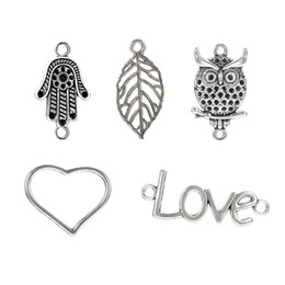 vintage hamsa pendant Canada - Vintage Silver Plated Alloy Metal Owl Animal Charms Heart Love Hamsa Hand Fatima Leaf Pendants Jewelry Accessories Fit DIY Necklace Bracelet